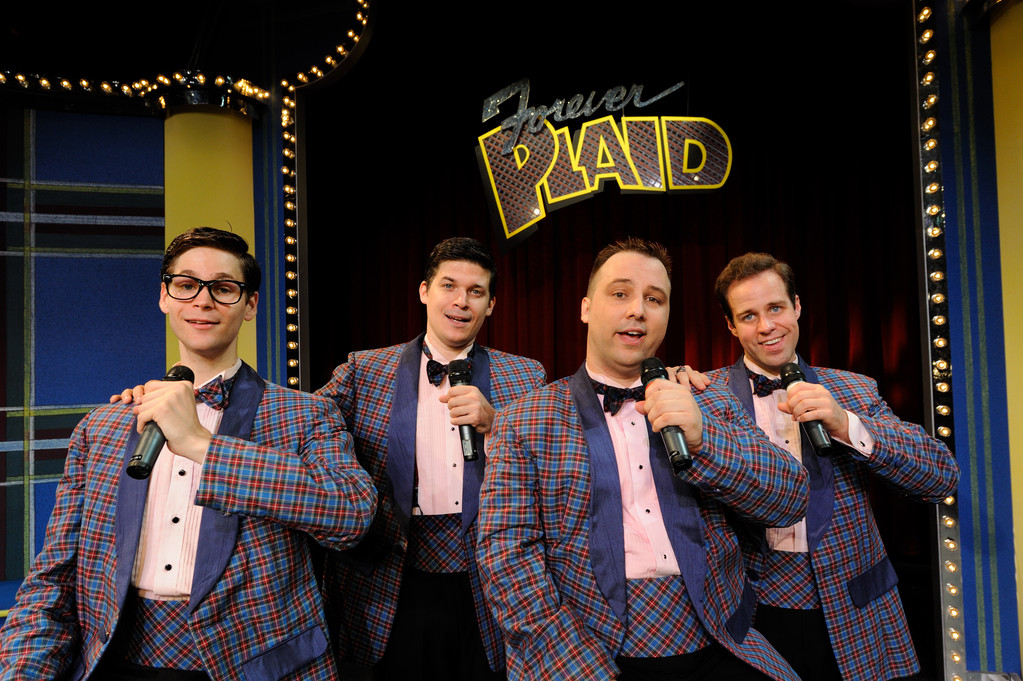 "From left: Max Pallman, Mike Backes, Adolpho Blaire and Jeffrey Scott Stevens star as ""The Plaids"" in the deliciously goofy musical comedy ""Forever Plaid,"" being presented at Theatre By The Sea through June 17.  For tickets call 782-TKTS (8587) or visit www.theatrebythesea.com."