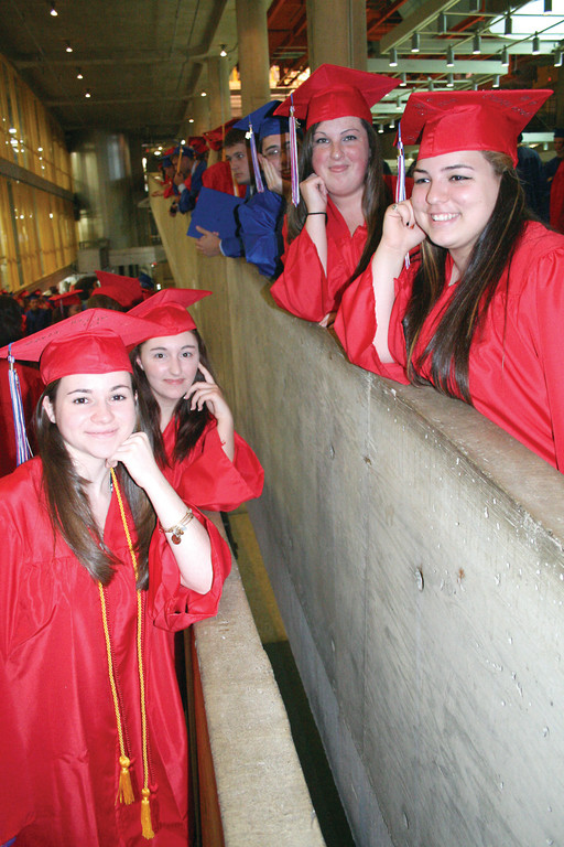 Toll Gate seniors line up in preparation to filing into the CCRI Fieldhouse for commencement ceremonies Thursday.