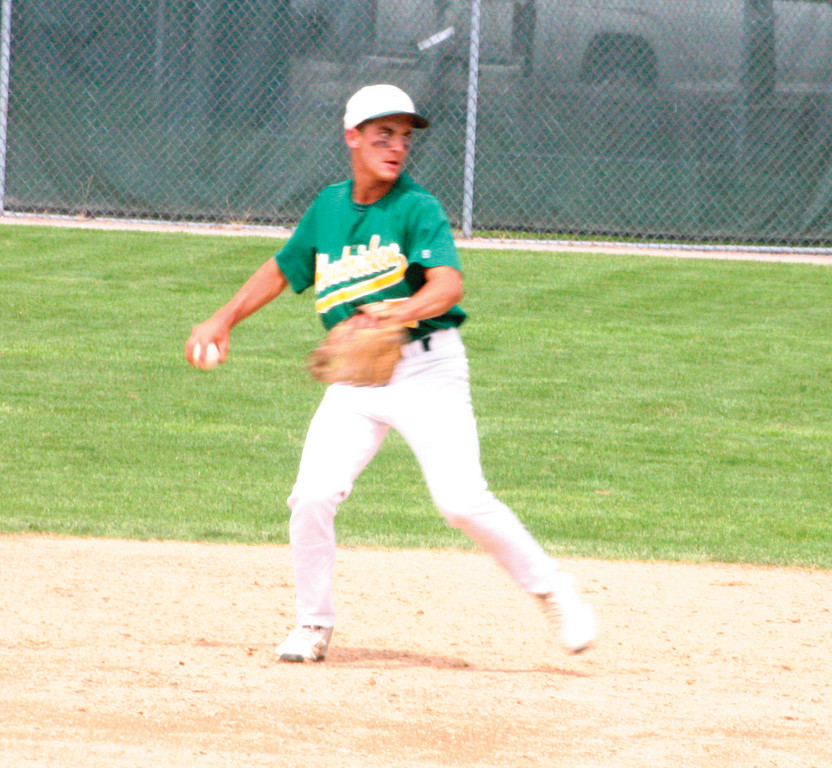 MAKING THE PLAY: Hendricken second baseman Lou Umberto looks to throw to first during Sunday's game.