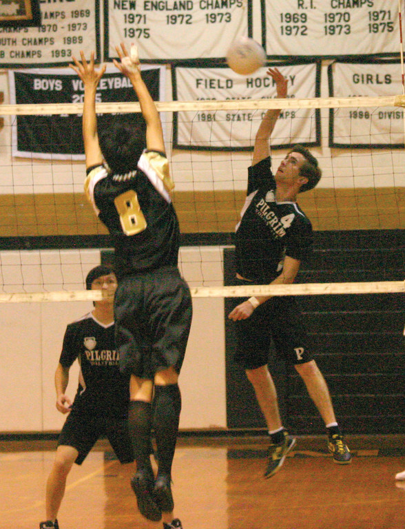 LINING IT UP: Pilgrim's John Zuffoletti rises for a kill.
