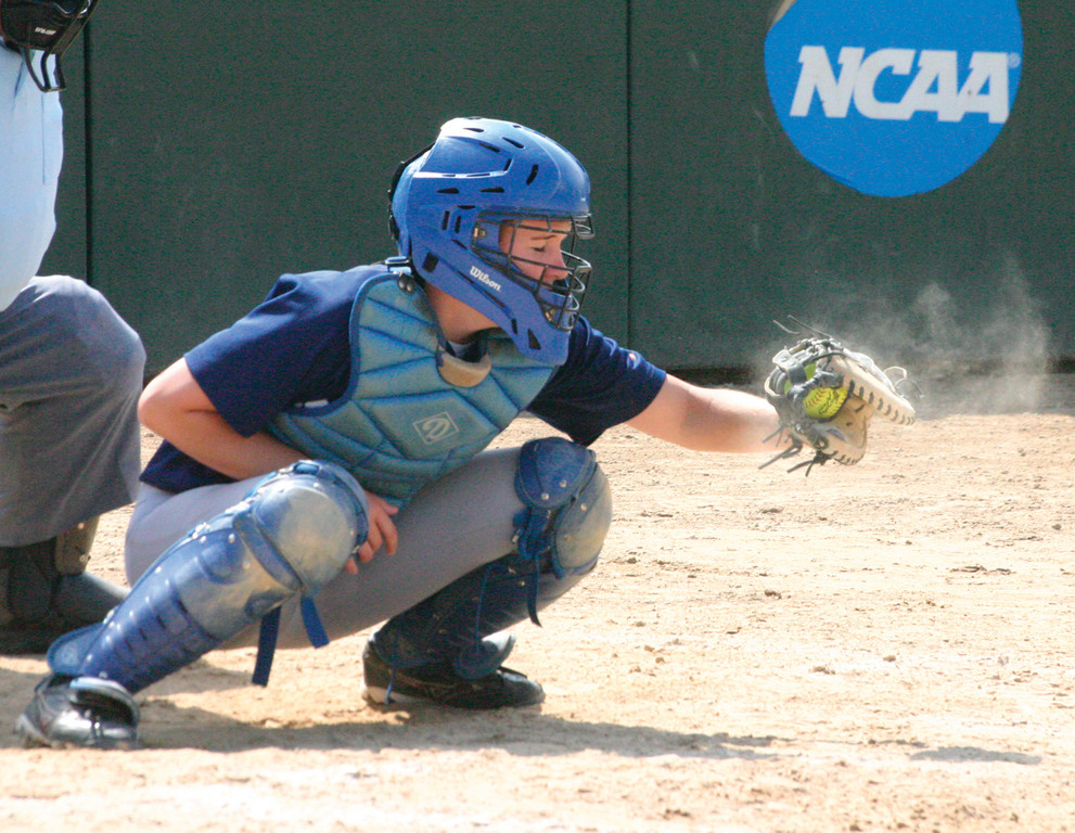 LOOKING IT IN: Pattie Turner catches a Katie MaCaughey pitch during Saturday's game.