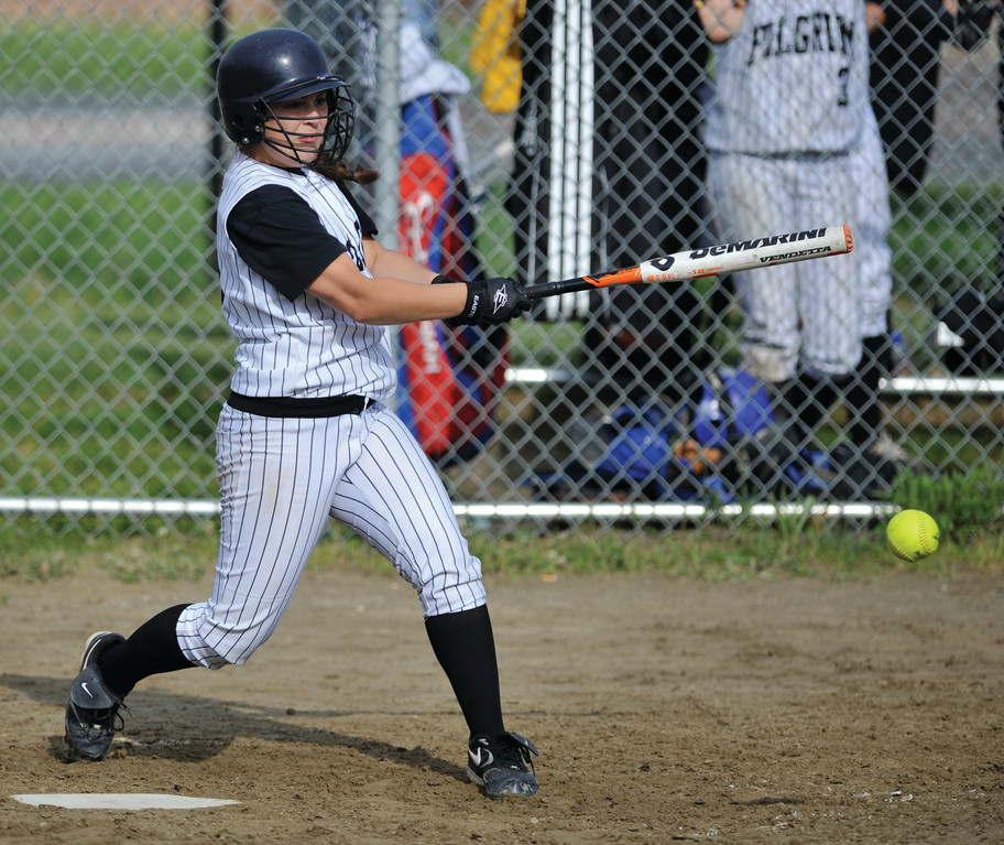 HITTING: Pilgrim's Lauren Peladeau follows through on a swing in Wednesday's game.