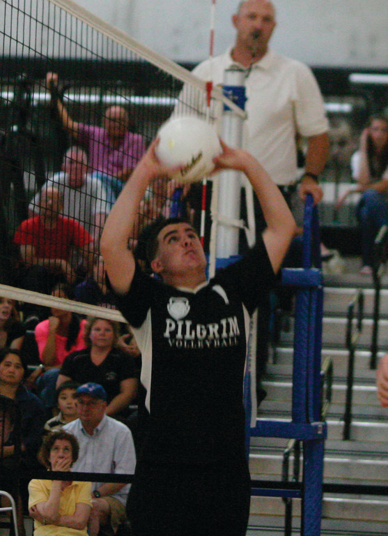 LOOKING UP: Jason Ferguson sets the ball on Monday.
