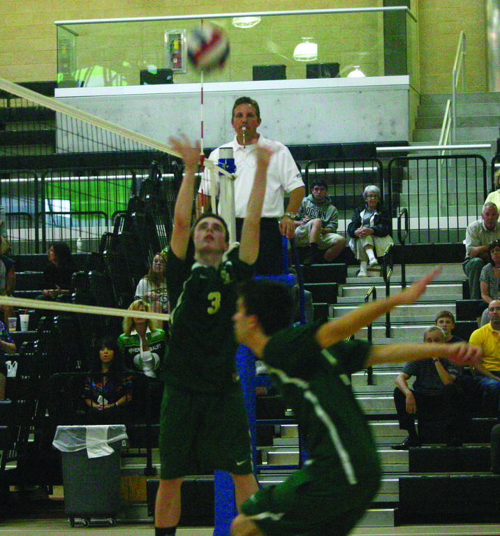 Matt Medeiros puts up a set.