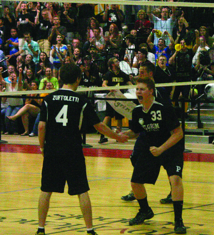 Dan Colabella celebrates after his kill got Pilgim to match point.