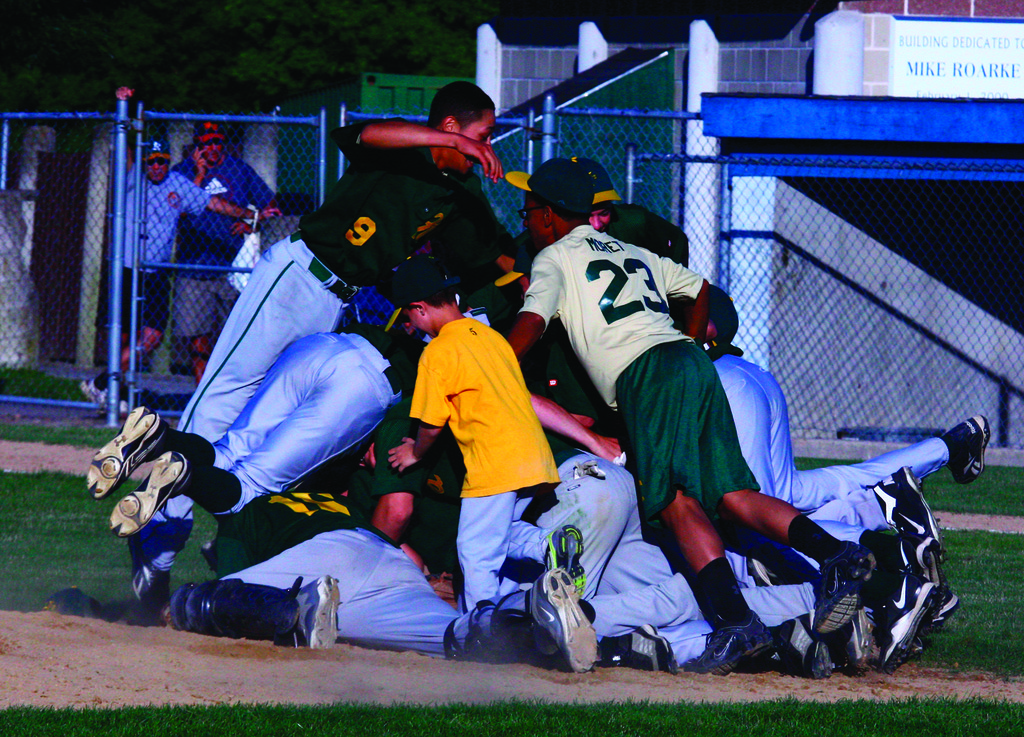 Hendricken players celebrate after the final out on Thursday.