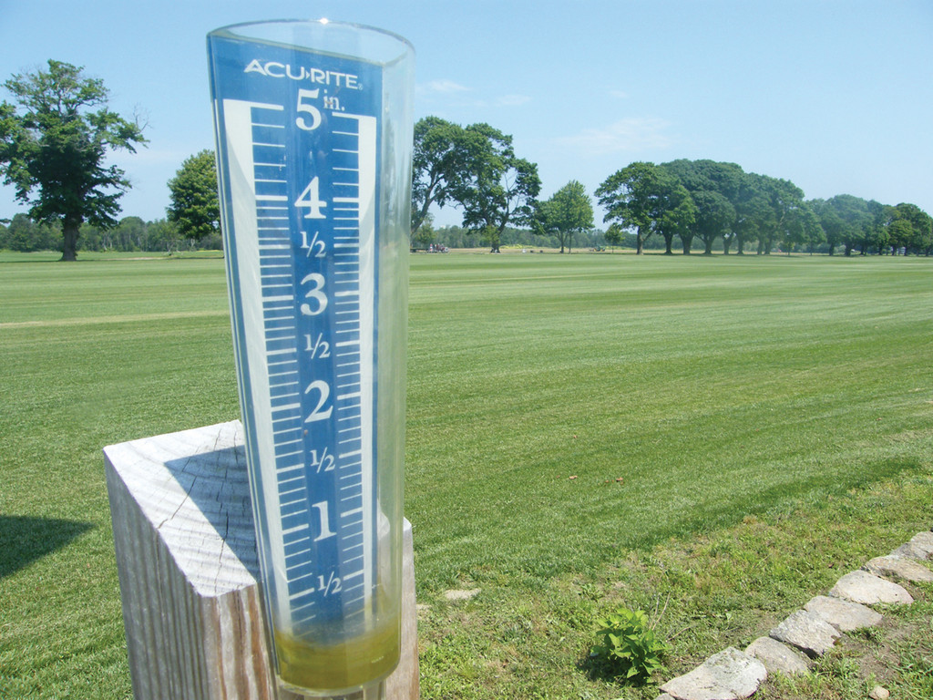 JUST AN INCH: By using a rain gauge, like the one pictured here, experts say homeowners can determine how much water their lawn has gotten per week, both from natural sources, like rain, and from sprinkler systems. No rain gauge? Use a pie tin or tuna can, said Pat Hogan, sales manager at Sodco.
