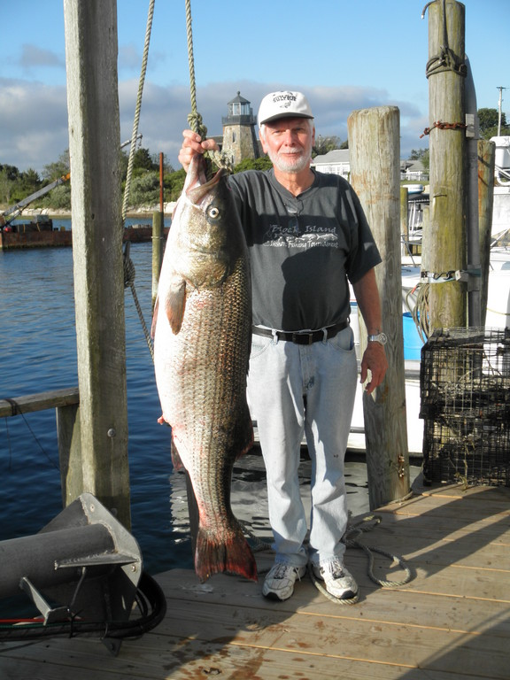 Don Smith landed this 52.40 pound striped bass off Block Island this Sunday at 10:00 p.m. fishing with light tackle drifting a live eel.
