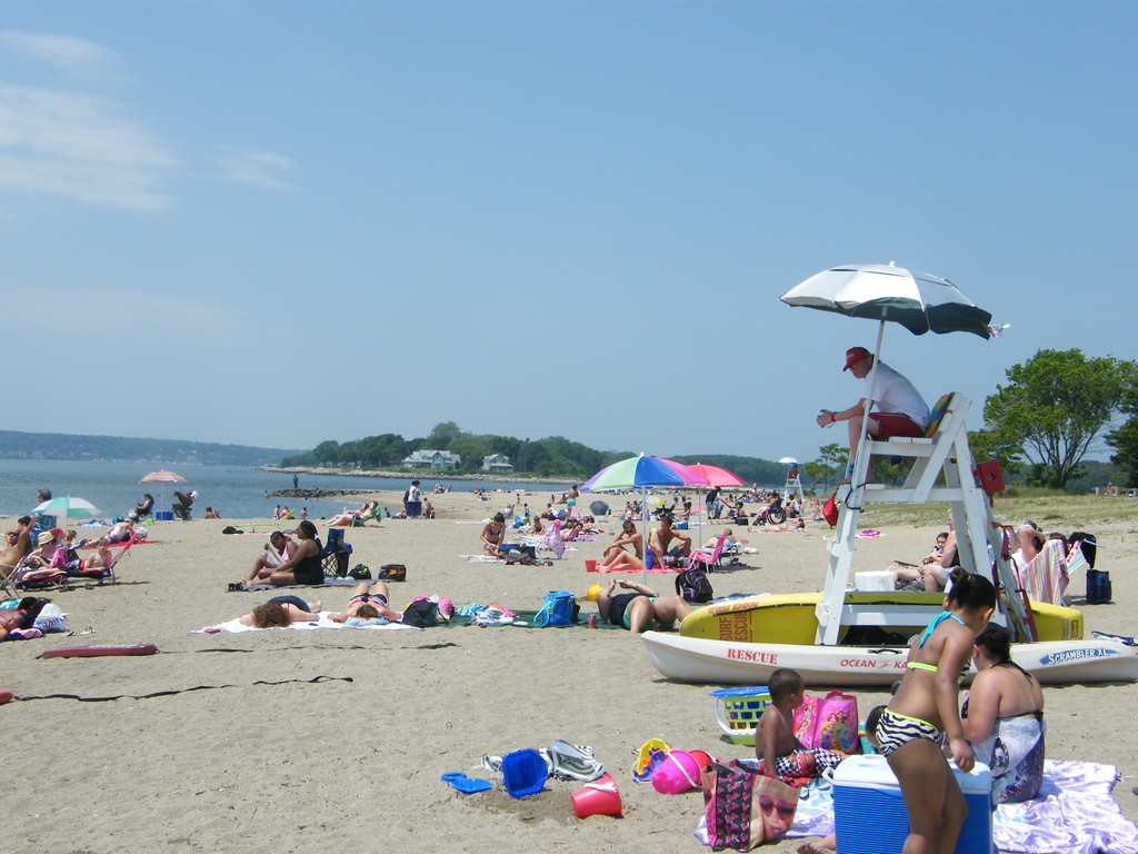 Oakland Beach was lined with those looking to soak up the sun and cool off in the water in yesterday's 90-degree temps.