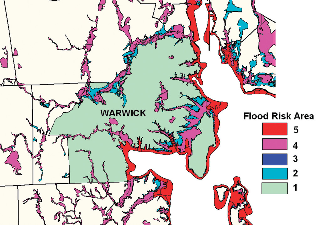WARWICK FLOOD RISK: Special flood hazard areas, making up approximately 15 percent of Warwick, are classified by risk on a 1 to 5 scale. Areas rated 5 (red), known as coastal Zone V, include storm-wave risks. Areas rated 4 (flood risk) and 3 (less flood risk) are typically not in danger of coastal flooding. Areas rated 2 (light blue) have considerably low risk of flooding. The remainder of the city, rated 1 (gray), is at very low risk.