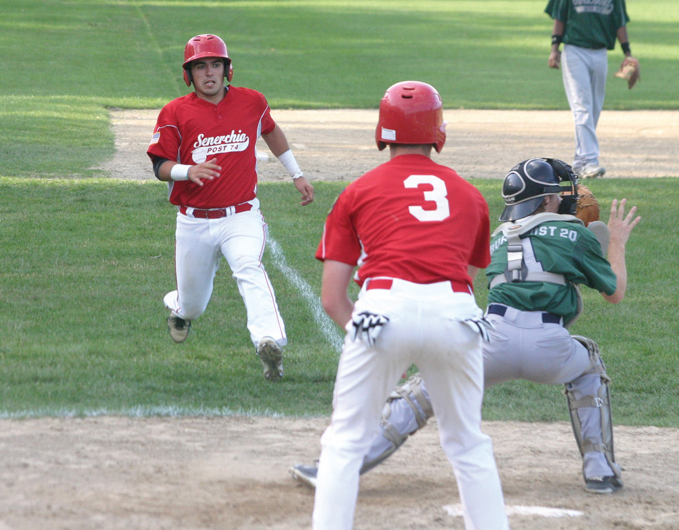 PLAY AT THE PLATE: Senerchia's Sam Boulanger (left) heads for home while Gershkoff catcher Tyler Collins gets in position. Boulanger was out on the play, one of two runners thrown out at home for Senerchia.