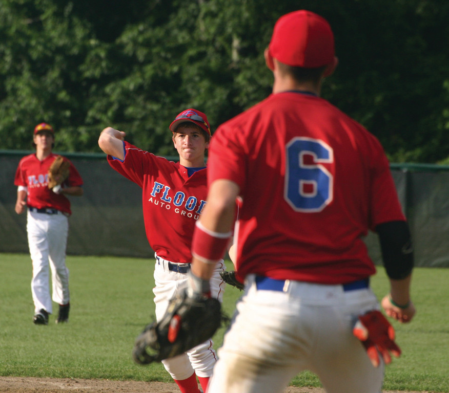 OUT AT FIRST: Flood's Ryan Rotondo lines up a throw to Billy Keegan during Monday's Connie Mack game.