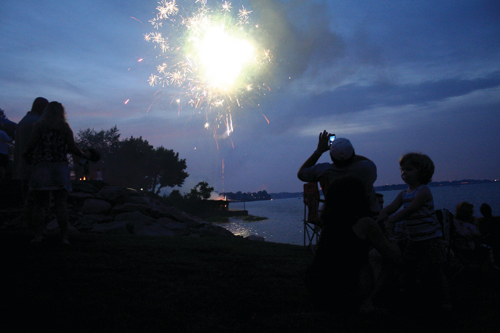 LIGHTING UP THE NIGHT: Firework displays require a permit, and while only two city permits were issued for the July 4 celebration, the skies were aglow with pyrotechnics for the holiday. (Warwick Beacon photo)