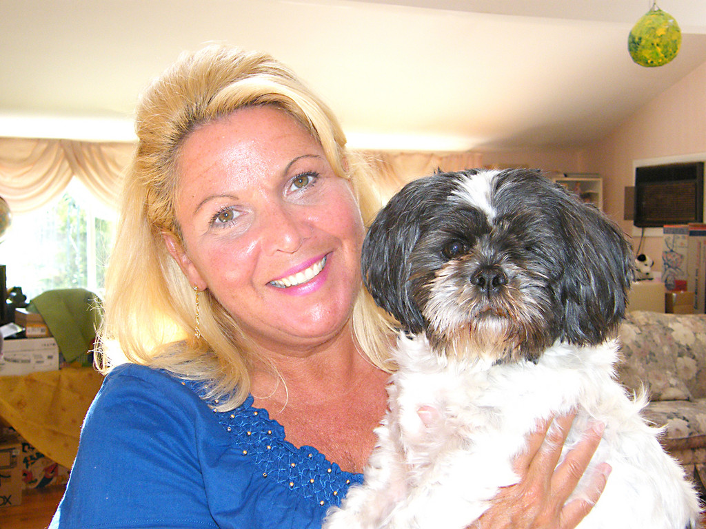 BETTER NOW: Susan Dwyer holds her three-year-old shih tzu, Shiloh, who was injured at Artistic Dog and Cat Grooming in Cranston in January. Shiloh's eye had to be removed because of the injury he sustained. Daryl Noonan, the salon's owner, denies responsibility for the injury, but said he will pay Dwyer's $3,000 medical bill.