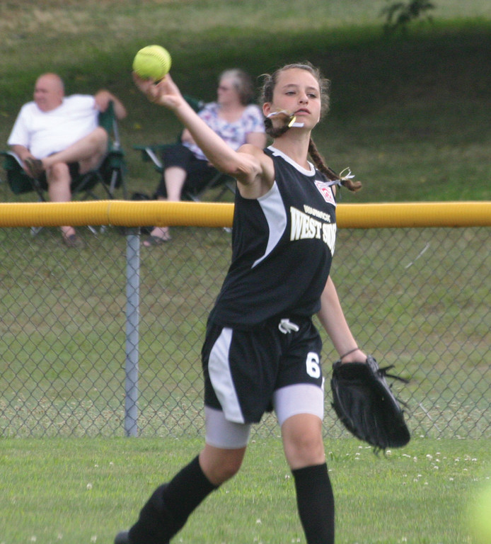 ON THE BALL: Kristiana Altieri makes a throw in from the outfield.