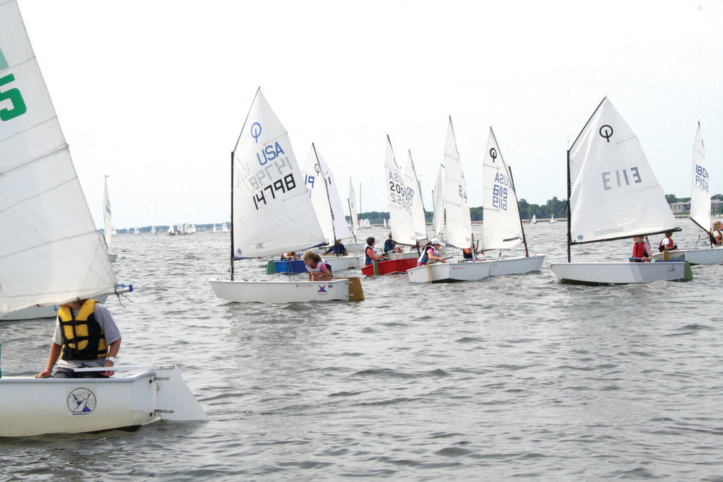 BOUNTY OF BOATS: More than 110 young sailors from yacht clubs across the bay competed yesterday in a regatta sponsored by the Narragansett Bay Yachting Association and hosted by the Edgewood Yacht Club.