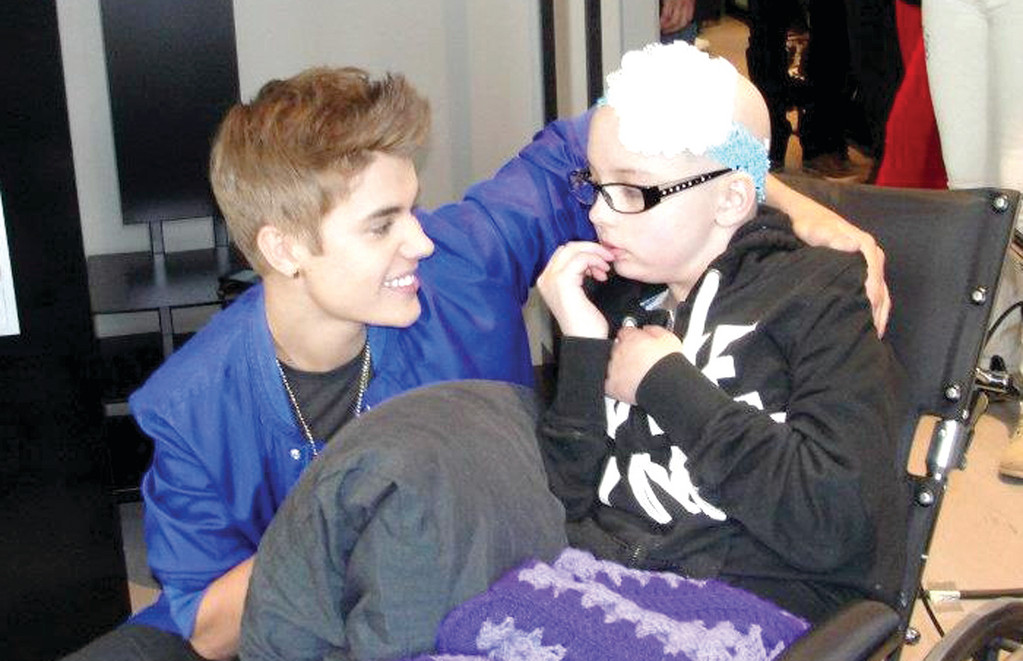 DREAM COME TRUE: Jenna Belle Jacques met Justin Bieber in Norway where he was performing through the efforts of Make A Wish. Bieber not only got to speak with his young fan, but also gave her a kiss. Jenna passed away at 9 years of age last week from cancer.