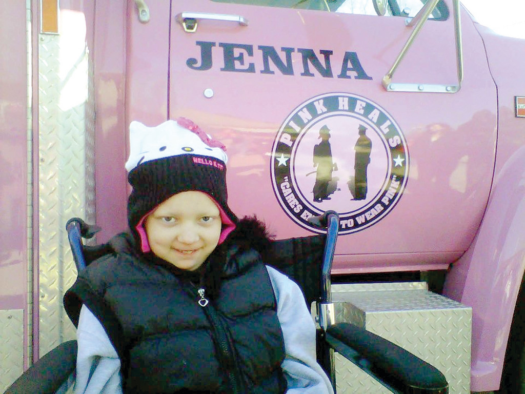 JENNA'S TRUCK: The RI Pink Heals, an organization that supports women with cancer and is comprised of fire fighters and police officers that donate their time, named the latest truck, a rescue squad, in Jenna's honor when she was alive. Jenna was the first person, along with her family, to sign the truck.