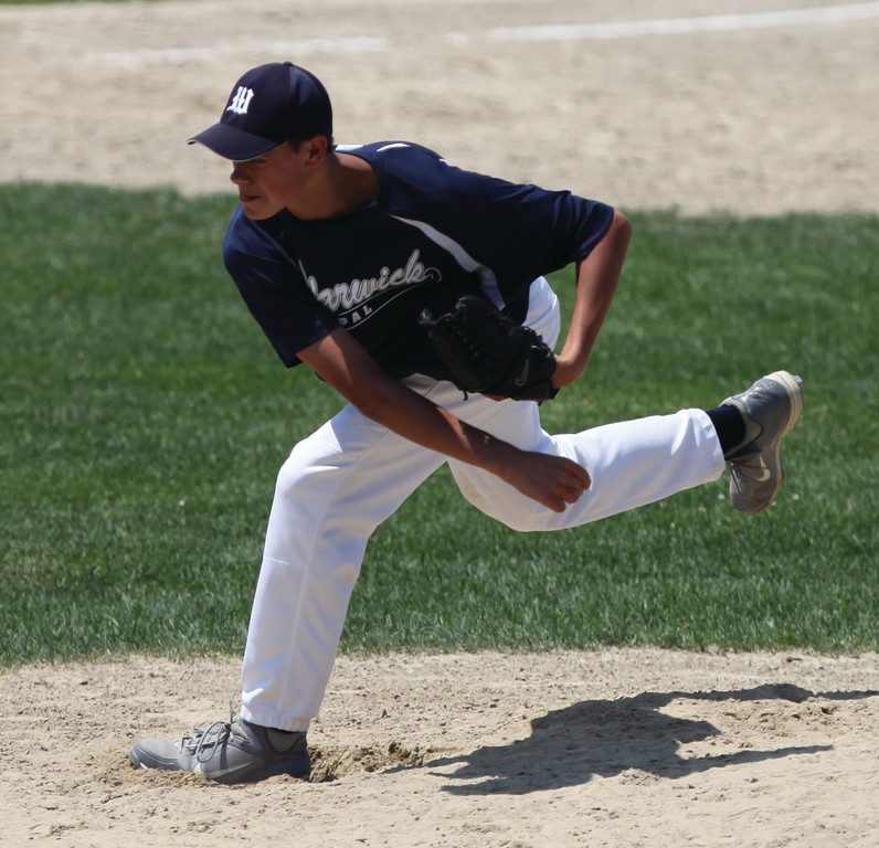 DEALING: Shane Kittila delivers a pitch during Warwick's first game, on Saturday.