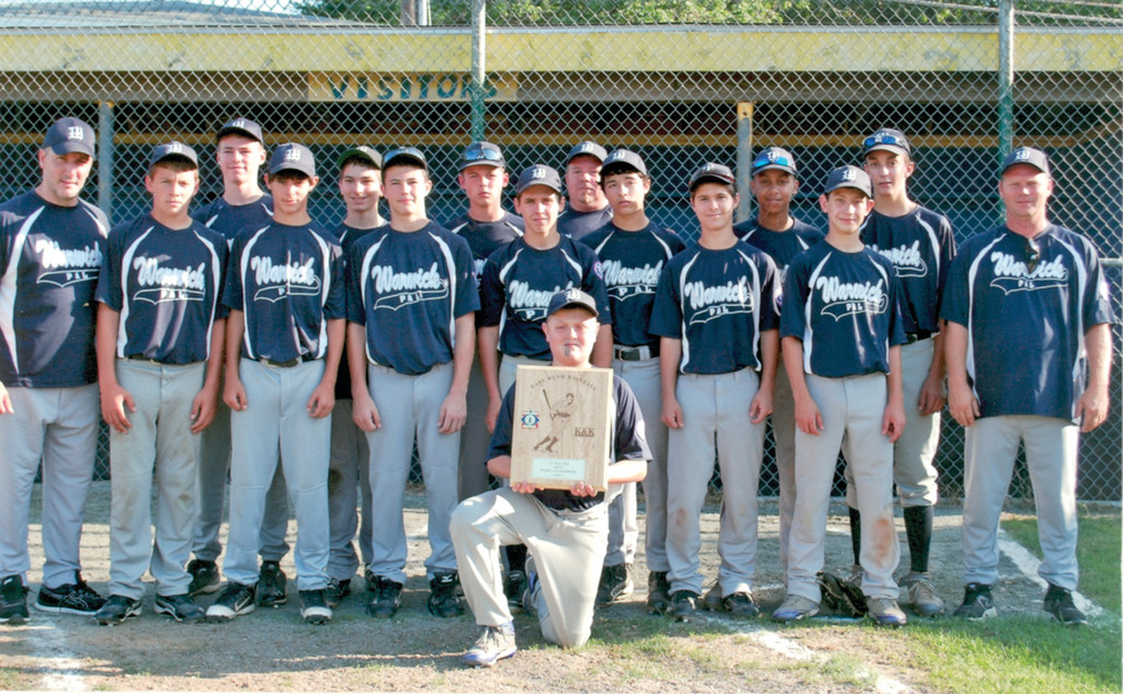 FINISHING IT OFF: The Warwick PAL 13-year-old all stars captured the Babe Ruth state championship on Sunday. Pictured Kneeling: Eric Howell. First row: Darren Grant, Anthony Russo, Steven Johnson, Nicholas Grenci, Jarrod Houle, Jordan Huntoon, coach James Houle. Second row: coach Bob Creamer, Michael Kiernan, Sean Creamer, William Roberge, David DeFusco, Elijah Brown, Ryan Viti. Third row: manager Brian Hawkins.