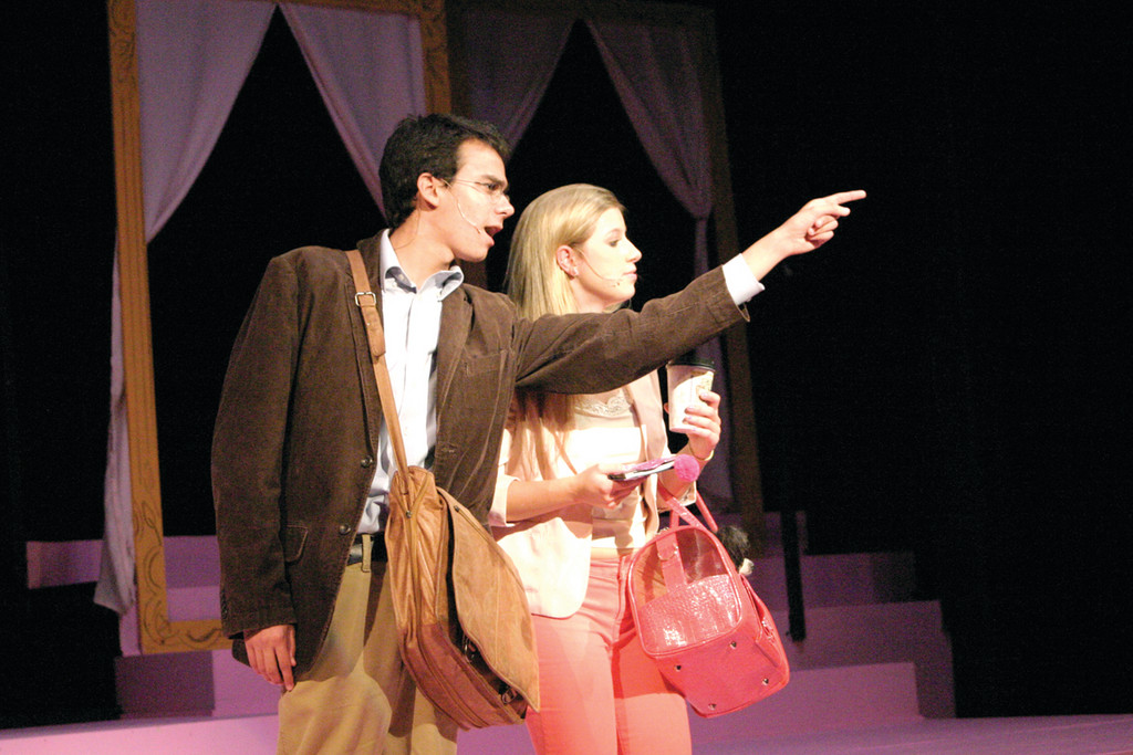 THIS WAY: Peter Mancuso, who plays Emmett Forrest, encourages Elle Woods (Lizzie Bateson) to get a chip on her shoulder and hit the books.