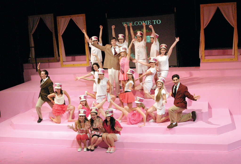 "BE POSITIVE: The ensemble of ""Legally Blonde"" strikes a pose."