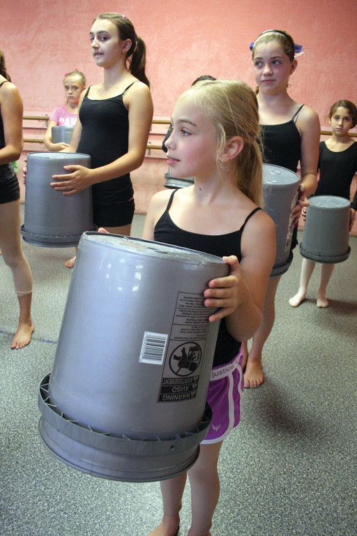 READY FOR DRUMMING: Jamie D�Ambra lines up with others in the Carolyn Dutra dance camp.
