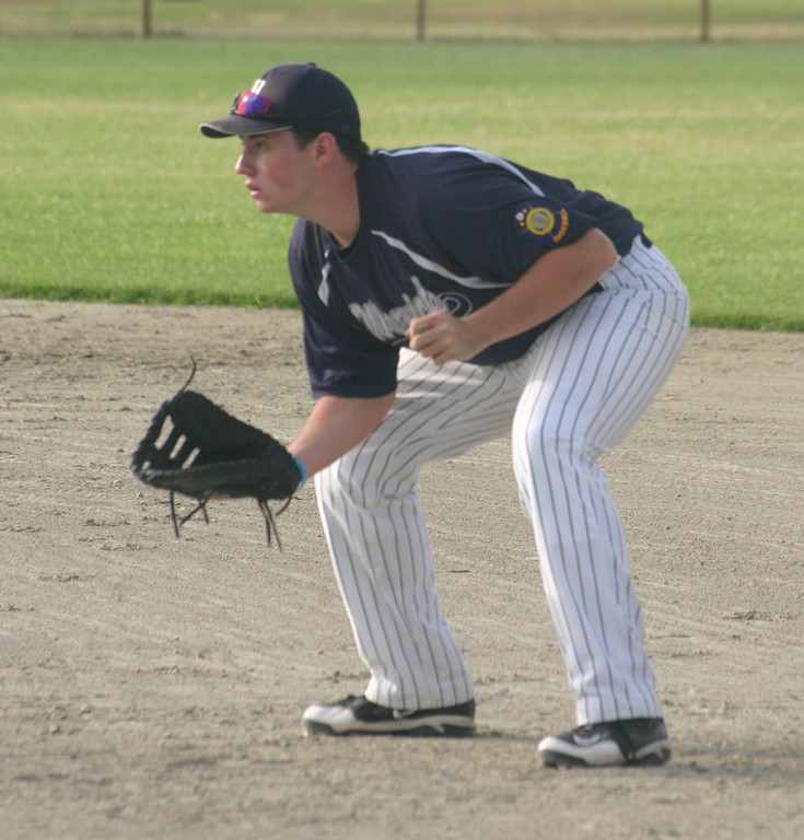 Andrew Swain gets set at first base.