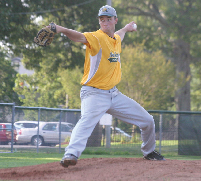 EXCLAMATION POINT: Kyle Fitzsimmons winds up for a pitch in Tuesday's game against Senerchia Post 74. Fitzsimmons tossed a complete game as NEFL clinched first place with a 5-1 victory.