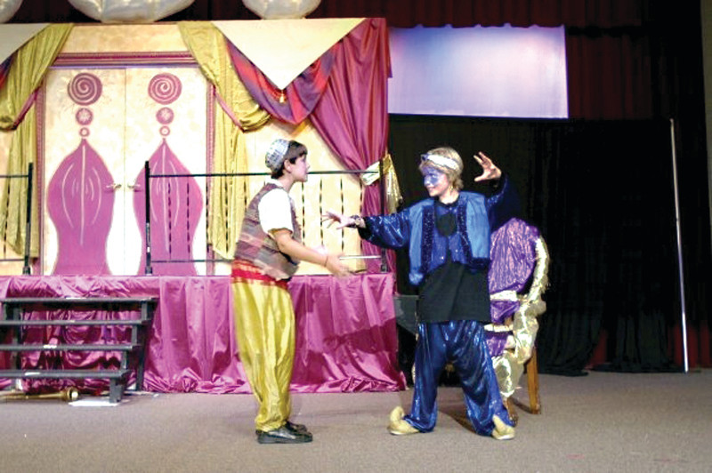 "Roque, at right, as the Genie in ""Aladdin"" at Rhode Island Youth Theatre."
