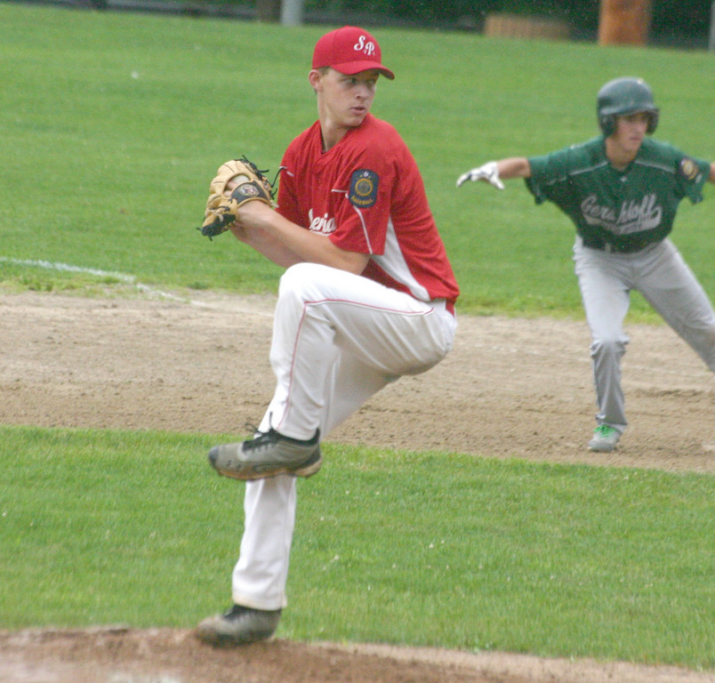 KING OF THE HILL: Senerchia's Mike King delivers a pitch in Tuesday's playoff game. King pitched seven shutout innings as fourth-seeded Senerchia topped fifth-seeded Gershkoff 10-0 to advance in the winners' bracket.