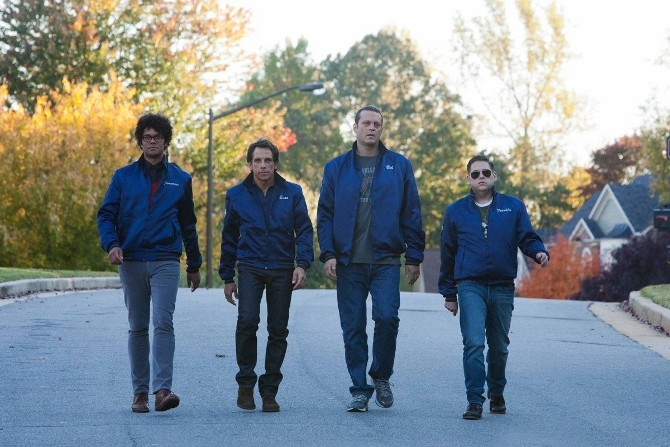 "Richard Ayoade, Ben Stiller, Vince Vaughn and Jonah Hill star in ""The Watch."""