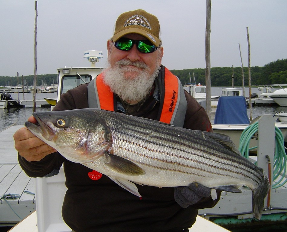 Chuck Daignault, with a striped bass he caught early this year, enjoys fin fishing and shell fishing even though his legs give him trouble.  He plans his trips carefully and takes it slow as he follows his passion for fishing.