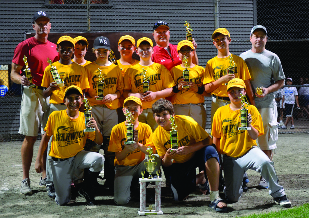 HARDWARE: Players from Donelan's show off their trophies after winning the City Series championship on Friday night over Coastway Community Bank of Warwick National Little League.
