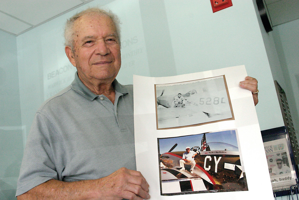 THEN AND NOW: Turilli sits atop a P-51 Mustang in 1945, as well as the same model plane at an air show in Columbus, Ohio 62 years later.