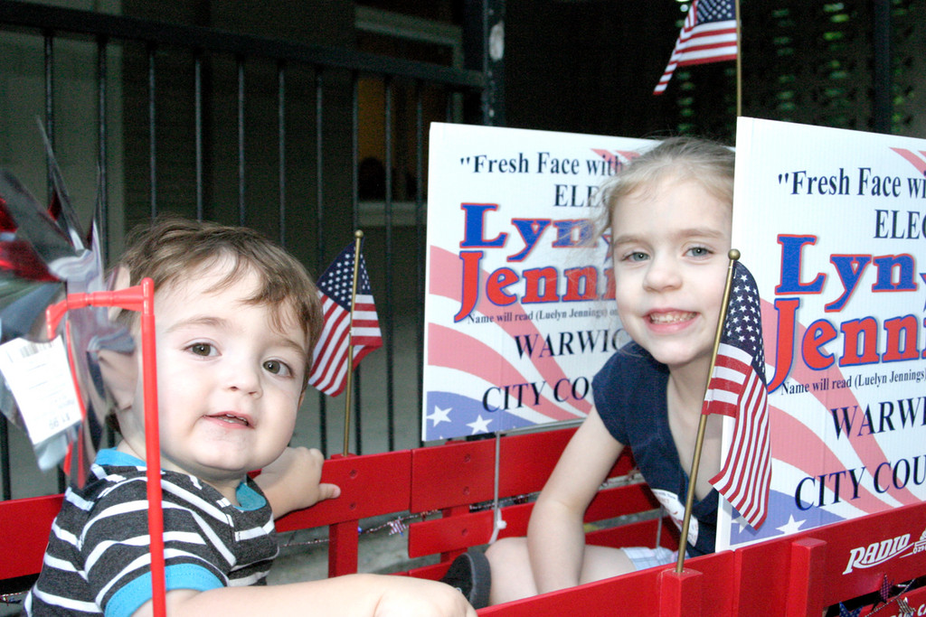 POLITICAL PINWHEELS: Jennings' great-nephew, Julian Grant, 1, as well as her niece, Cailey George, 7, were in full support.