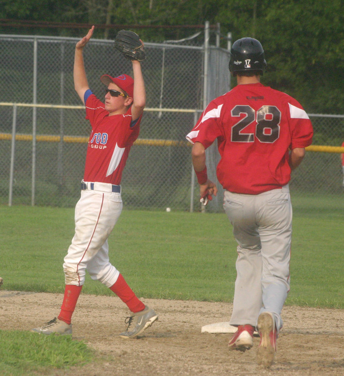 GOING FOR GOLD: Flood's Ryan Rotondo signals for his catcher not to throw the ball as Cranston's Andrew Ciacciarelli steals second.