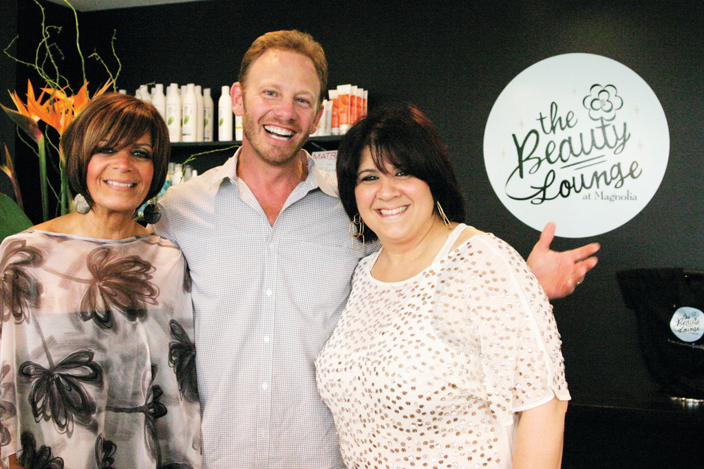 "STEVE SANDERS: To the delight of his fans, Ian Ziering, best known for his role as Steve Sanders on Beverly Hills, 90210,"" visited The Beauty Lounge at Magnolia, a salon located at 1375 Park Avenue in Cranston, to help launch an anti-aging skin care product line. Shown here are salon co-owners Christine St. Hilaire (left) and Angela Manzo."