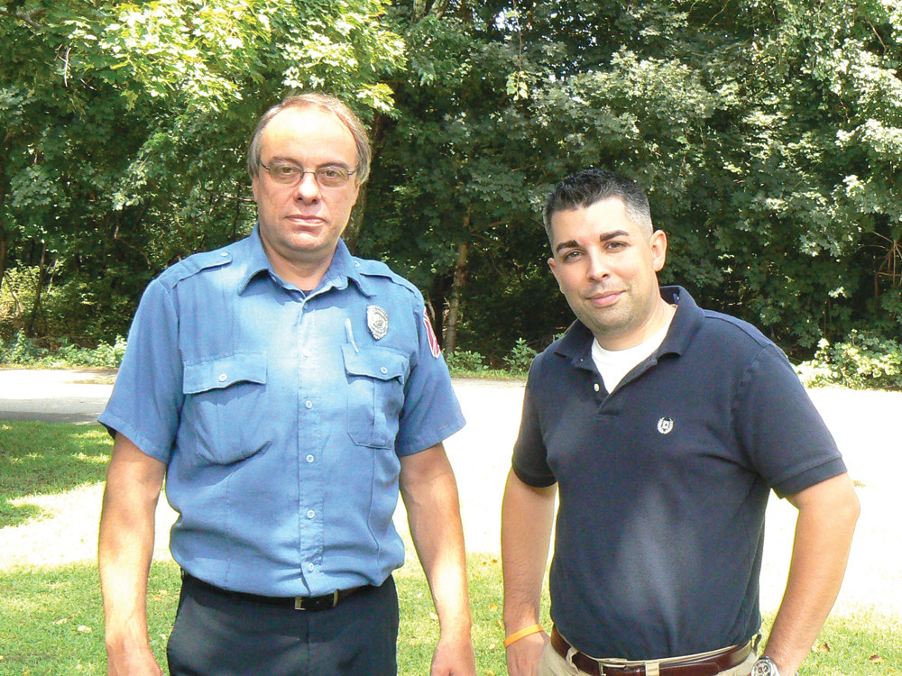 COUNCIL NEWS: November is approaching and current council members and hopefuls alike are walking their wards and holding fundraisers in support of their campaigns. The Warwick Fire Fighters recently endorsed Danny Hall, the chair of the GOP party. Hall stands with William Lloyd, president of the Warwick Fire Fighters Local 2748.