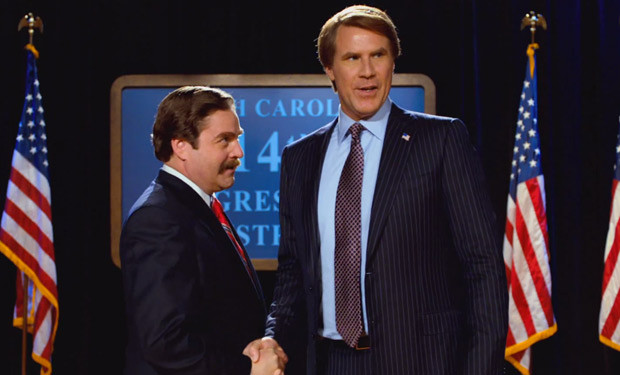 "Zach Galifinakis and Will Ferrell star in ""The Campaign."""