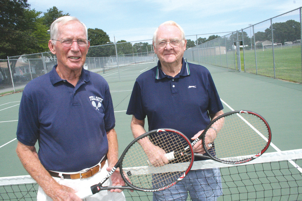ON THE BALL: Bob Coker and Clyde Bennett keep playing tennis at leat twice a week if not more often.