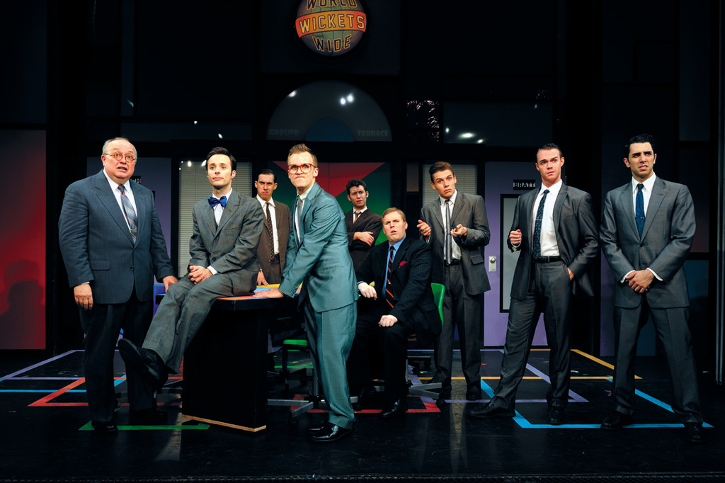 "The men of Theatre by the Sea's ""How to Succeed in Business Without Really Tryng."""