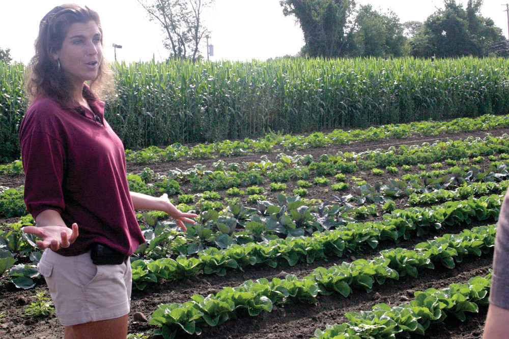 FARM FRESH: Shelley Pezza, who owns and operates the farm with her family, explains how the veggies are grown.