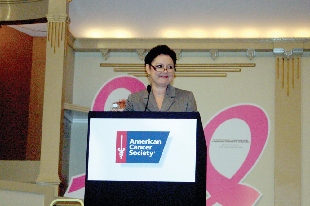 Barbara Morse Silva of WJAR NBC10 addresses an assembly of more than 500 people at Rhodes on the Pawtuxet last week during an inspirational kickoff breakfast for the American Cancer Society�s Making Strides Against Breast Cancer. The crowd of survivors and cause supporters shared simple and fun ways people can help raise funds that are used to eradicate breast cancer.