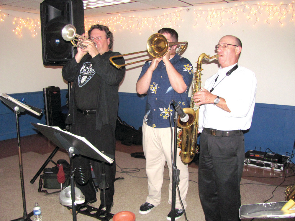 BRASSES OFF: The All-Starz Horns section of Roger Ceresi's All-Starz, who treated the Tri-City Elks Lodge to some special music. It includes Carl Queforth, John Abrahamsen and Barry