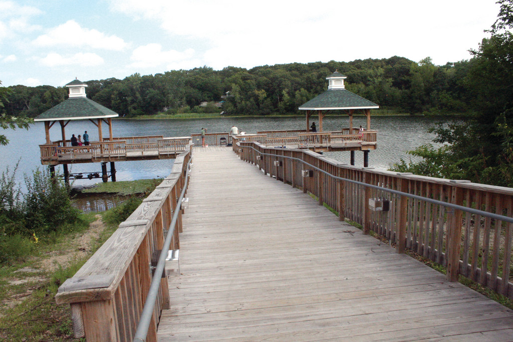 FISHING MADE EASY: The handicapped fishing pier offers a guaranteed view of Gorton Pond and … always … the possibility of a catch.