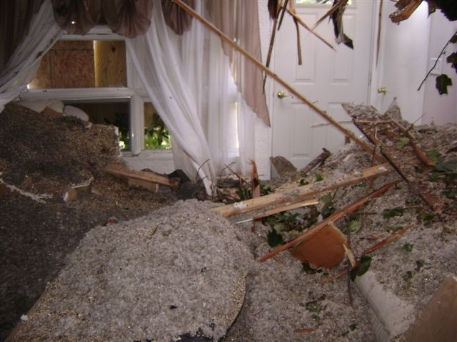 BACK THEN: The Bartoshevich home shortly after Tropical Storm Irene brought a tree down on it.