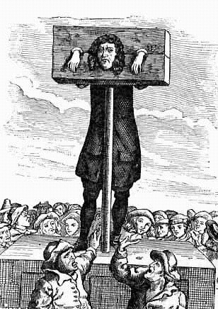 The pillory was usually constructed so as to force the offender to stand upright, usually on a wooden platform. There is a reported incident of a near-death resulting from rotten wood collapsing in the wooden platform almost resulting in a broken neck.