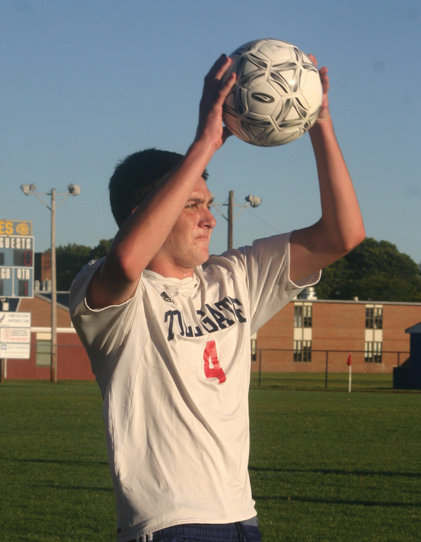 THROW IT: Toll Gate's James Sullivan sends a ball onto the field.