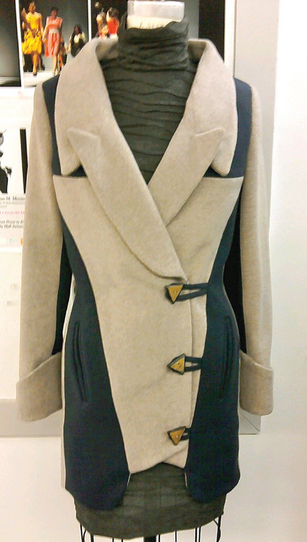 100% WOOL: Fashion students learn to work in a variety of natural and synthetic fabrics and colors, like Sarah Maloof's woolen coat.